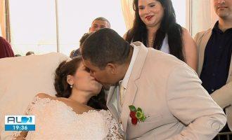 Paciente com câncer terminal de colo de útero realiza sonho e se casa em hospital em Maceió